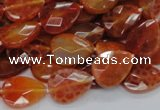 CAG670 15.5 inches 13*18mm faceted flat teardrop natural fire agate beads