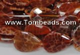CAG671 15.5 inches 18*25mm faceted flat teardrop natural fire agate beads