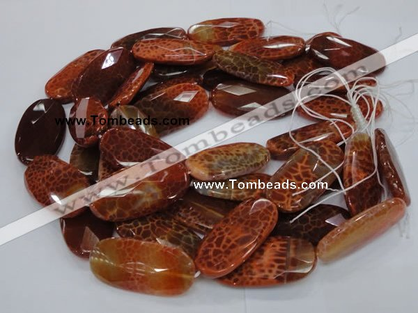 CAG681 15.5 inches 25*50mm faceted freeform natural fire agate beads