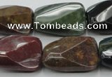 CAG6815 15.5 inches 18*25mm faceted & twisted rectangle Indian agate beads