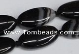 CAG6920 15.5 inches 15*30mm oval black line agate beads