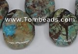 CAG7071 Top drilled 20*30mm - 25*35mm freeform ocean agate beads