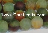 CAG7169 15.5 inches 10mm round matte rainbow agate gemstone beads