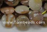 CAG776 15.5 inches 15mm flat round yellow agate gemstone beads