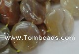 CAG777 15.5 inches 20mm flat round yellow agate gemstone beads