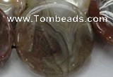 CAG782 15.5 inches 50mm flat round yellow agate gemstone beads