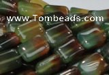 CAG790 15.5 inches 10*14mm rectangle rainbow agate gemstone beads