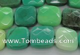 CAG7914 15.5 inches 16*16mm faceted square grass agate beads