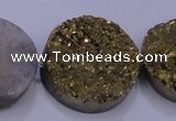 CAG7939 7.5 inches 28mm flat round plated white druzy agate beads