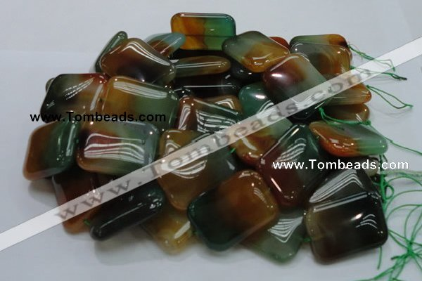 CAG794 15.5 inches 30*40mm rectangle rainbow agate gemstone beads