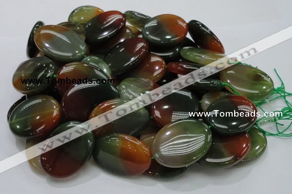 CAG797 15.5 inches 30*40mm oval rainbow agate gemstone beads