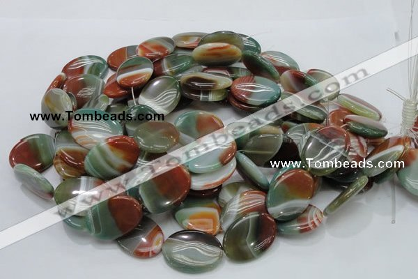 CAG800 15.5 inches 20*30mm oval rainbow agate gemstone beads