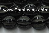 CAG8003 15.5 inches 14mm carved round black agate beads