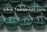 CAG8008 15.5 inches 14mm carved round green agate beads