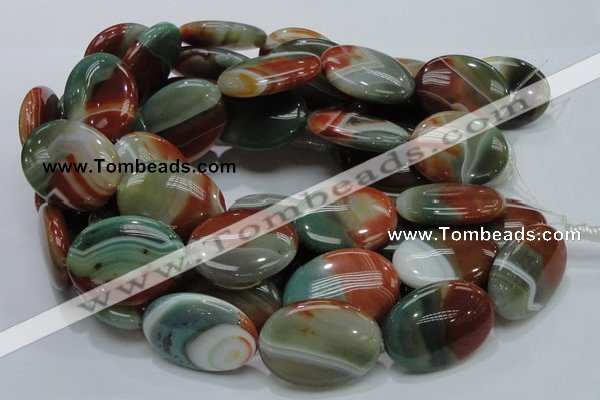 CAG801 15.5 inches 30*40mm oval rainbow agate gemstone beads