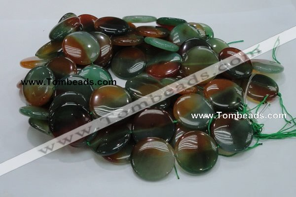 CAG803 15.5 inches 30mm flat round rainbow agate gemstone beads