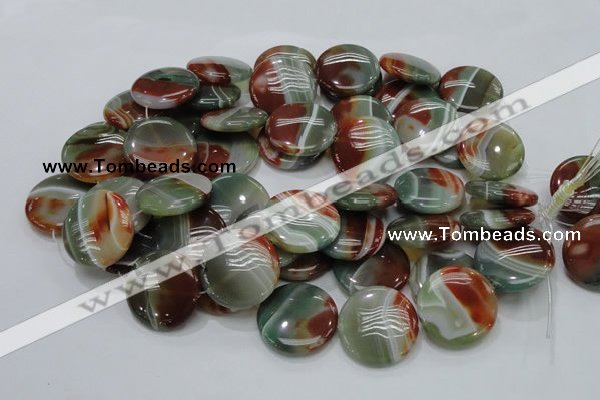 CAG806 15.5 inches 30mm flat round rainbow agate gemstone beads