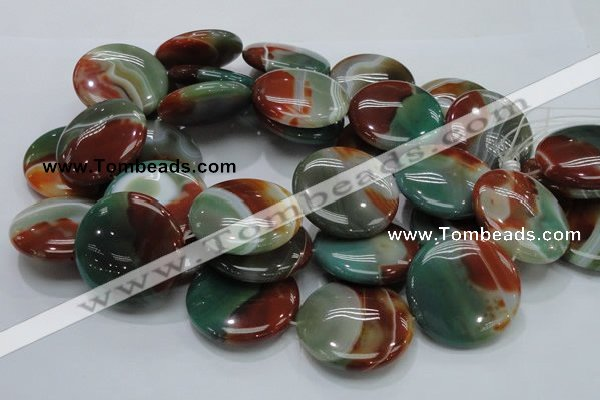 CAG807 15.5 inches 40mm flat round rainbow agate gemstone beads
