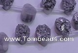 CAG8102 Top drilled 10*14mm teardrop silver plated druzy agate beads