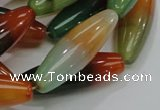 CAG811 15.5 inches 12*40mm rice rainbow agate gemstone beads