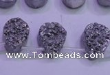 CAG8112 Top drilled 12*16mm teardrop silver plated druzy agate beads