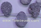 CAG8122 Top drilled 15*20mm teardrop silver plated druzy agate beads