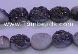 CAG8154 7.5 inches 10*14mm oval rainbow plated druzy agate beads