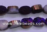 CAG8155 7.5 inches 10*14mm oval purple plated druzy agate beads