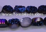 CAG8156 7.5 inches 10*14mm oval blue plated druzy agate beads