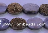 CAG8163 7.5 inches 12*16mm oval glod plated druzy agate beads