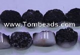 CAG8167 7.5 inches 12*16mm oval black plated druzy agate beads