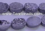 CAG8172 7.5 inches 13*18mm oval silver plated druzy agate beads