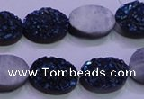 CAG8176 7.5 inches 13*18mm oval blue plated druzy agate beads