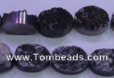 CAG8177 7.5 inches 13*18mm oval black plated druzy agate beads
