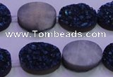 CAG8186 7.5 inches 15*20mm oval blue plated druzy agate beads