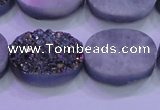 CAG8194 7.5 inches 18*25mm oval rainbow plated druzy agate beads
