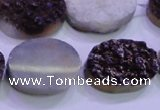 CAG8195 7.5 inches 18*25mm oval purple plated druzy agate beads