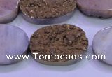 CAG8203 7.5 inches 20*30mm oval glod plated druzy agate beads
