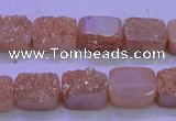 CAG8211 Top drilled 10*14mm rectangle champagne plated druzy agate beads