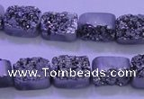 CAG8212 Top drilled 10*14mm rectangle silver plated druzy agate beads