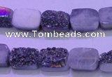 CAG8214 Top drilled 10*14mm rectangle rainbow plated druzy agate beads