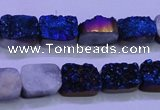 CAG8216 Top drilled 10*14mm rectangle blue plated druzy agate beads