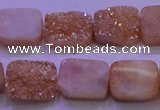 CAG8221 Top drilled 12*16mm rectangle champagne plated druzy agate beads