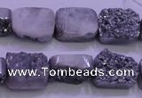 CAG8222 Top drilled 12*16mm rectangle silver plated druzy agate beads