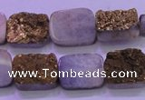 CAG8223 Top drilled 12*16mm rectangle glod plated druzy agate beads