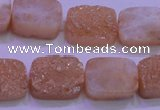 CAG8231 Top drilled 13*18mm rectangle champagne plated druzy agate beads