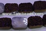 CAG8235 Top drilled 13*18mm rectangle purple plated druzy agate beads