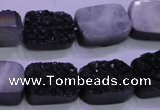 CAG8237 Top drilled 13*18mm rectangle black plated druzy agate beads