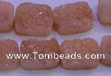 CAG8241 Top drilled 15*20mm rectangle champagne plated druzy agate beads