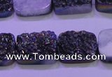 CAG8244 Top drilled 15*20mm rectangle rainbow plated druzy agate beads
